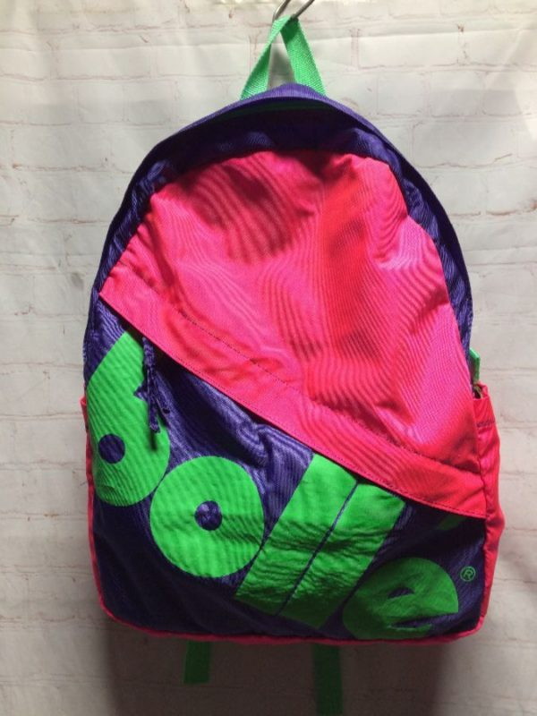 product details: NEON COLORS IN COLOR-BLOCK DESIGN 1980'S RETRO BACKPACK photo