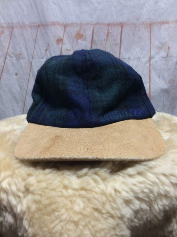 PLAID WOOL BLEND DAD HAT W/ SUEDE BRIM & ADJ BACK STRAP