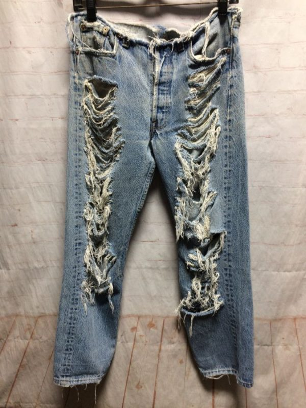 LEVIS FULLY DISTRESSED DENIM JEANS CUT-WAIST RED TAG