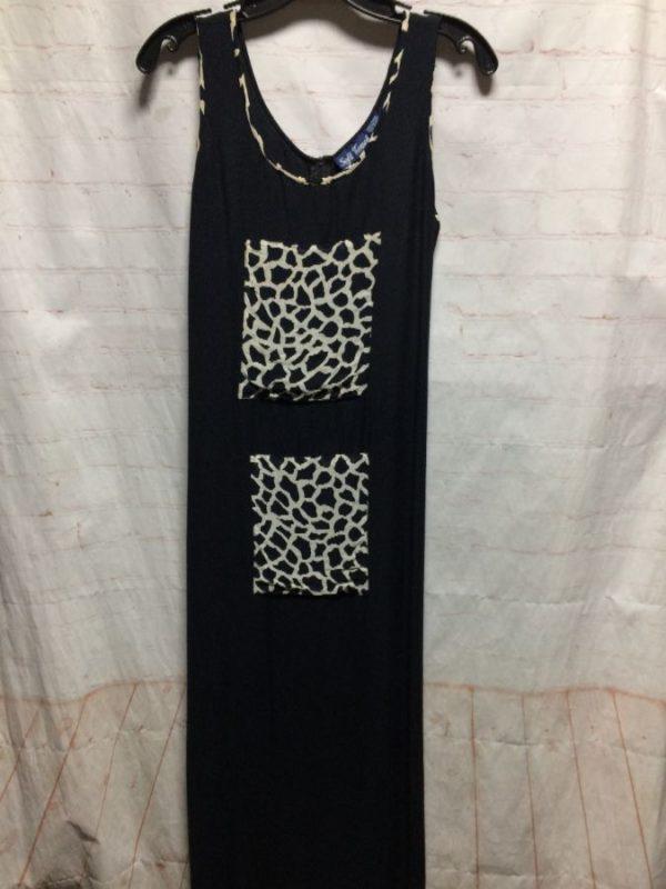 product details: MAXI DRESS SLEEVELESS TANK STYLE TOP W/ ANIMAL PRINT SQUARES photo