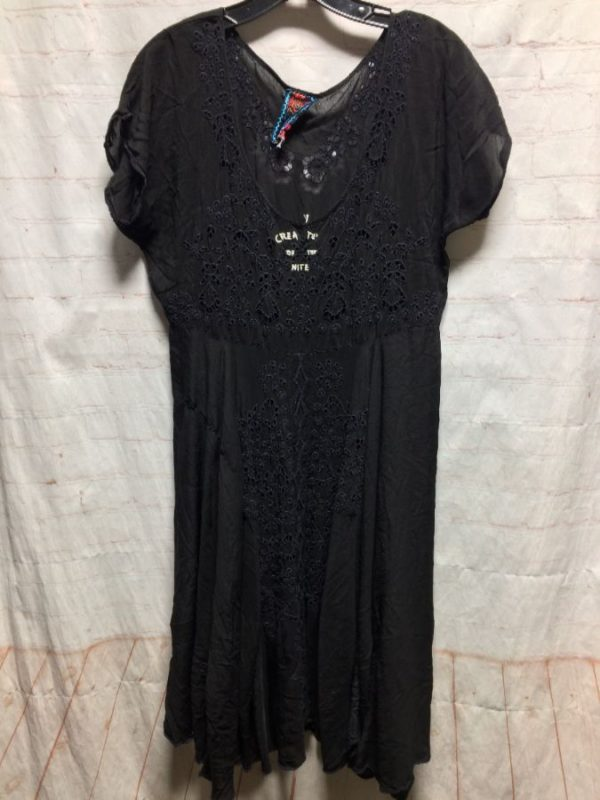 product details: FLOWY EYELET FABRIC DRESS W/ CREATURE OF THE NITE LETTERING ON FRONT CHEST photo