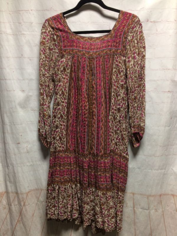 INDIAN COTTON MIDI DRESS W/ TINY FLORAL PRINT & STRIPES