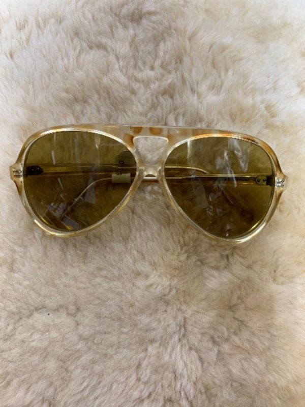 Sunglasses Aviator Peephole front Clear Spotty Brown