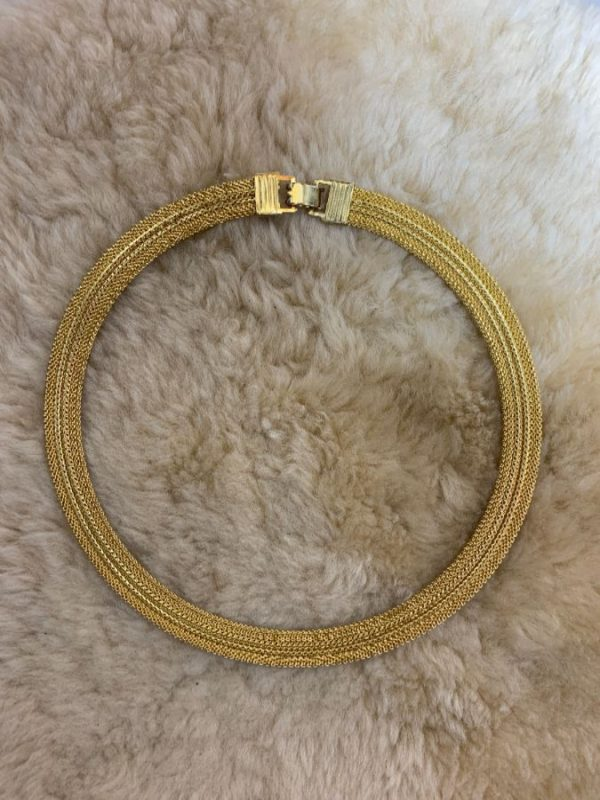 product details: DEADSTOCK MESH GOLD BUCKLE CLASP CHOKER NECKLACE photo