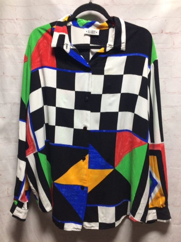 product details: RAYON BLOUSE W/ CHECKERBOARD & TRIANGLE COLOR-BLOCK DESIGN photo