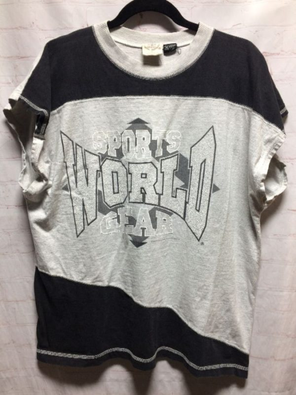 product details: SPORTS WORLD GEAR W/ RINGED NECK & SERGED FINISH SEAMS T-SHIRT 1980'S photo