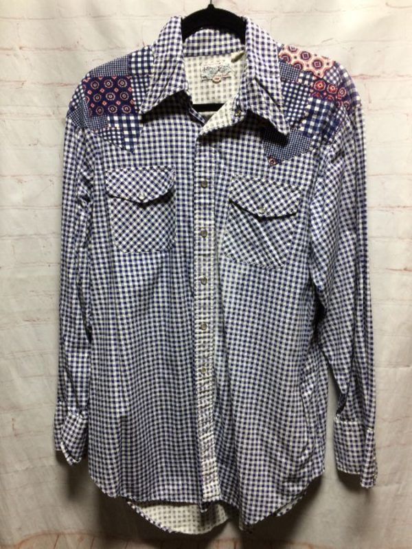 product details: RETRO 1970'S GINGHAM WESTERN SHIRT W/ PATCHWORK ON SHOULDERS/YOKE photo