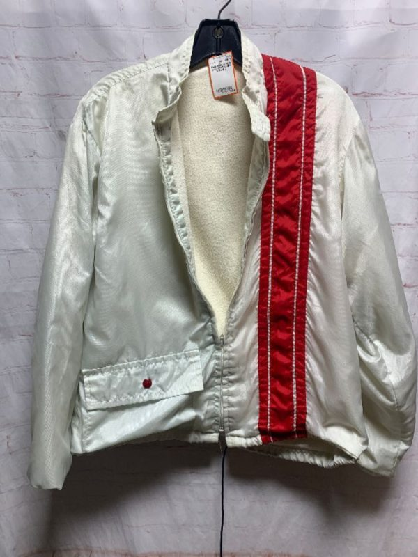 product details: Thick Retro racing jacket WITH RED STRIPE  as-is photo