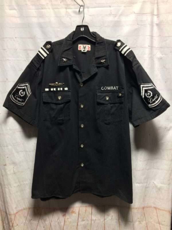 MILITARY SHIRT W/ BUTTON-UP & FRONT CHEST CARGO POCKETS