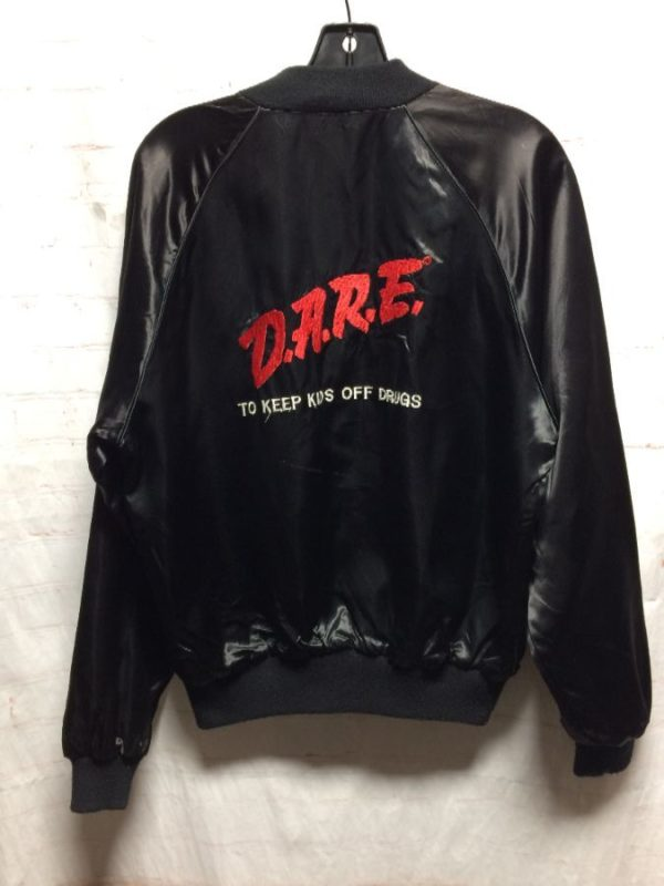 product details: EMBROIDERED CLASSIC DARE ACETATE BOMBER JACKET RED LINING - AS IS photo
