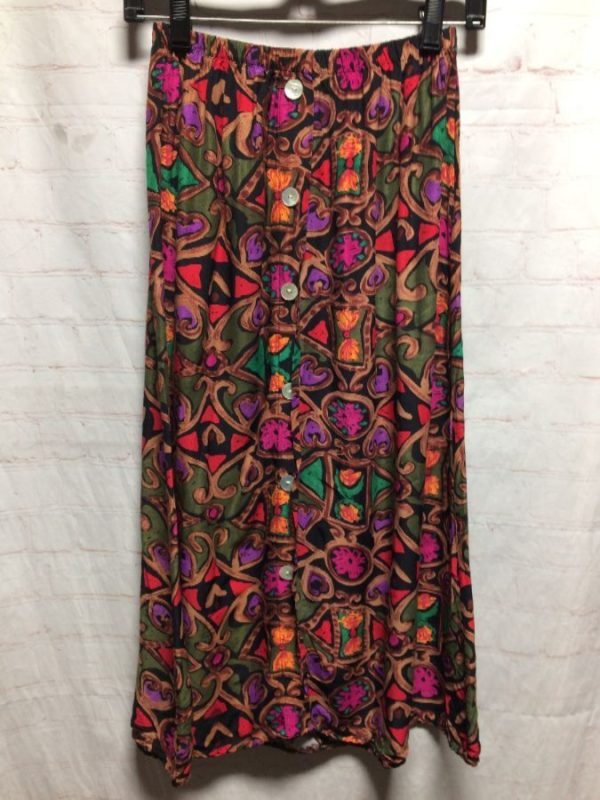 product details: BUTTON-UP LONG FLOWY SKIRT RAYON W/ ALLOVER FUNKY PRINT photo