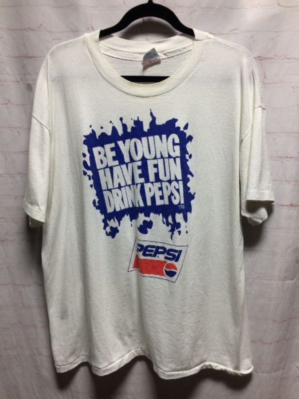 product details: VINTAGE 1980'S-1990'S BE YOUNG HAVE FUN DRINK PEPSI T-SHIRT photo