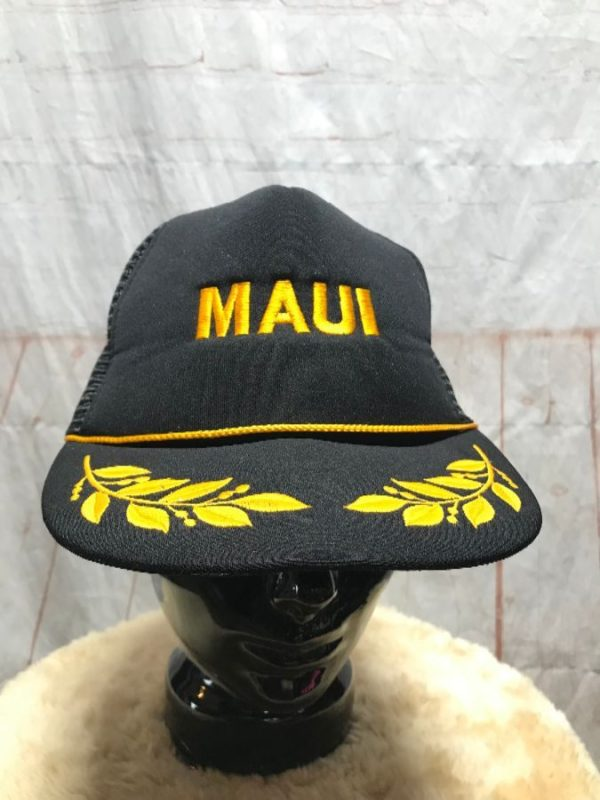 MAUI & LEAVES EMBROIDERED DESIGNS TRUCKER HAT