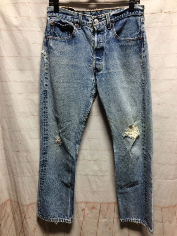 product details: PERFECTLY TATTERED LEVIS 501 DENIM JEANS W/ RED TAG & PERFECTLY DISTRESSED photo
