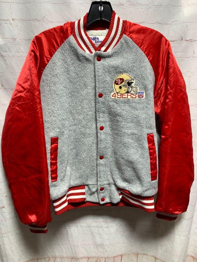 timeless design ec956 92350 NFL SAN FRANCISCO 49ER'S JACKET W/ FURRY INNER LINING & APPLIQUED LETTERS  ON BACK