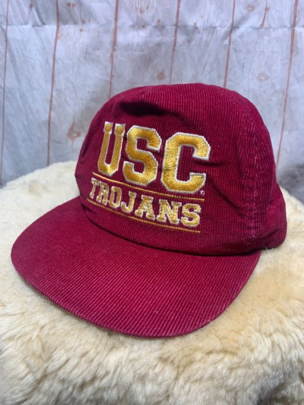 product details: EMBROIDERED USC TROJANS CORDUROY HAT W/ LEATHER BACK CLOSURE photo