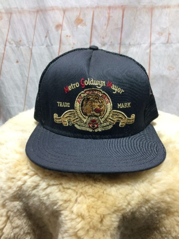 product details: VINTAGE EMBROIDERED MGM LION LOGO TRADE MARK W/ SNAP-BACK TRUCKER HAT photo