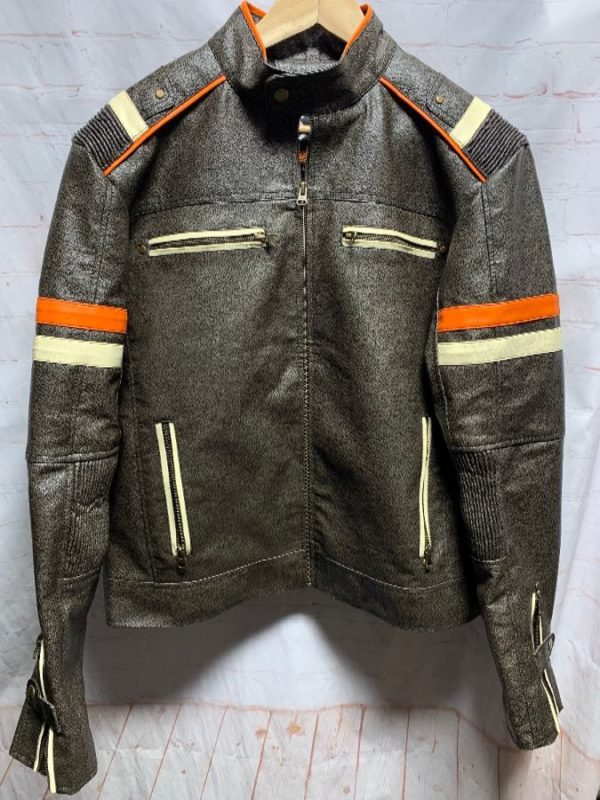 product details: LEATHER RACING JACKET W/ HORIZONTAL STRIPES ON SLEEVES photo
