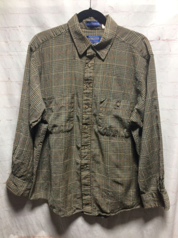 product details: WOOL PENDLETON PLAID DESIGN FLANNEL SHIRT photo