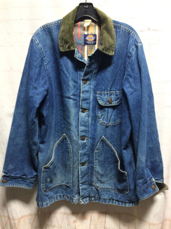 RAD 1990'S DICKIES WORKWEAR DENIM JACKET W/ SOUTHWESTERN DESIGN LINING