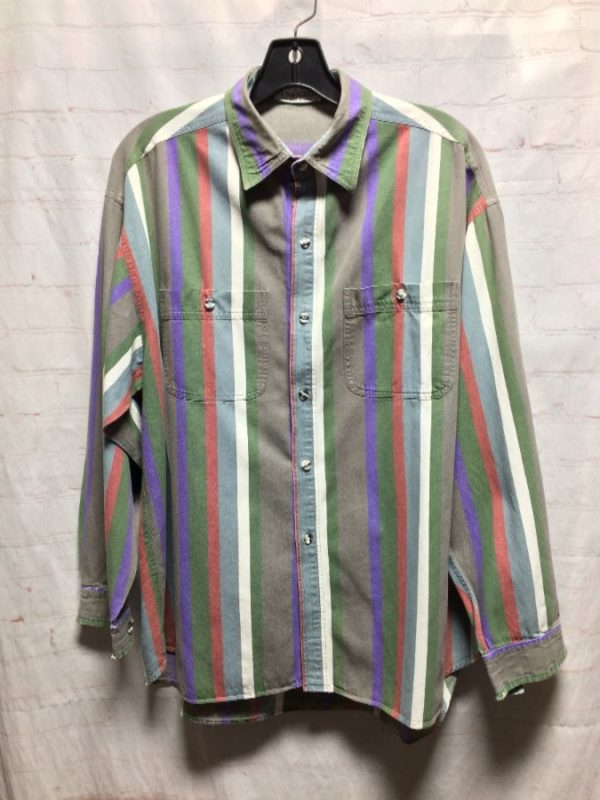 product details: PASTEL COLORED VERTICAL STRIPES W/ FRONT POCKETS photo