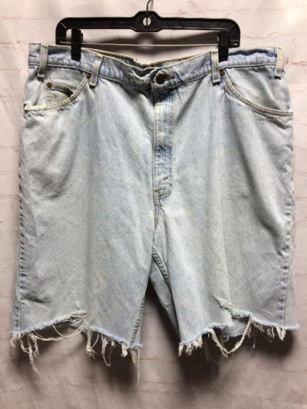 product details: LEVIS 560 LOOSE FIT DENIM SHORTS LARGE SIZE DISTRESSED & SOFT photo