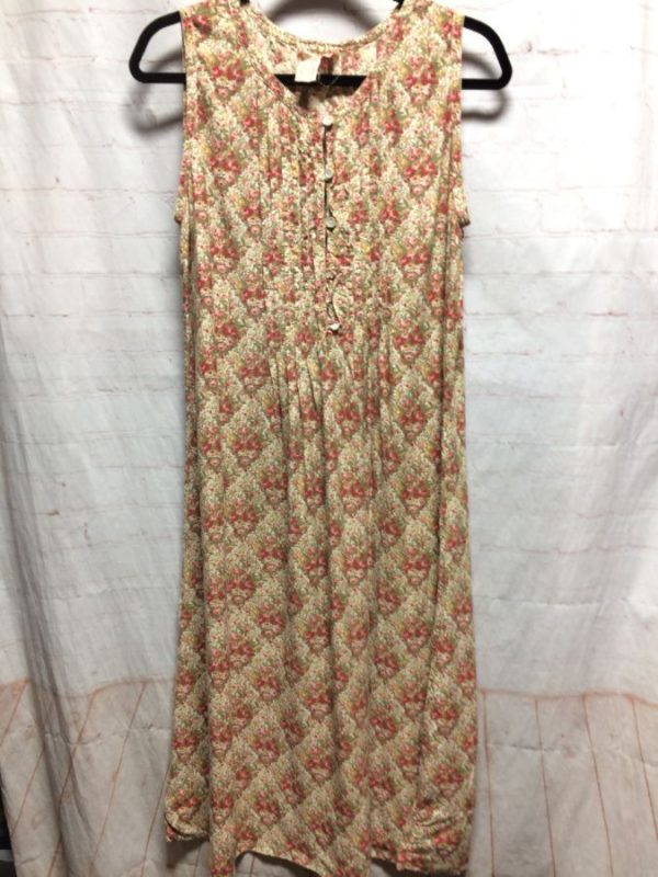 product details: FLOWY FLORAL PRINT RAYON DRESS W/ PLEATS IN FRONT & BACK photo