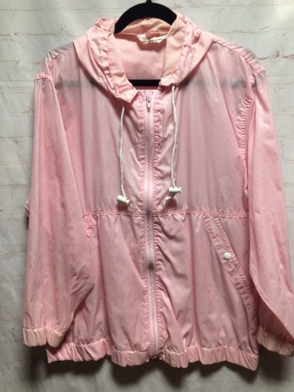 product details: PASTEL COLORED HOODED ZIP-UP WINDBREAKER JACKET photo