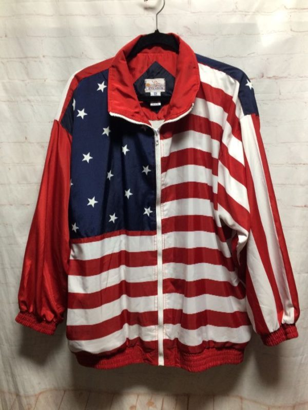 product details: AMERICAN FLAG DESIGN ZIP-UP JACKET photo
