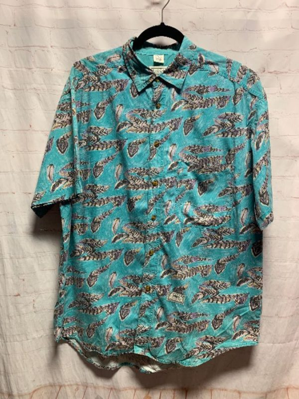 product details: LEVIS COTTON HAWAIIAN SHIRT W/ RARE FEATHER PATTERN PRINT photo