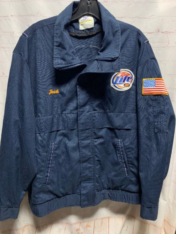 product details: MILLER LITE BEER DELIVERY DRIVER JACKET W/ EMBROIDERED PATCHES photo