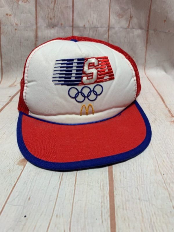 product details: VINTAGE MCDONALDS 1984 USA OLYMPICS TRUCKER HAT photo