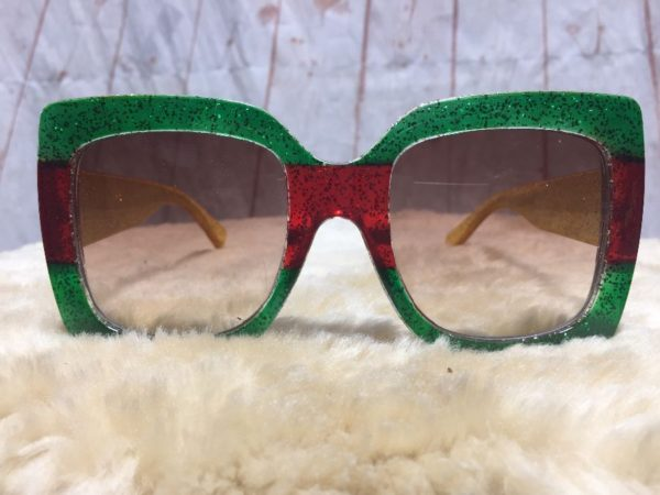product details: RASTA SPARKLE OVERSIZED GLITTER FRAMED SUNGLASSES YELLOW GREEN RED photo