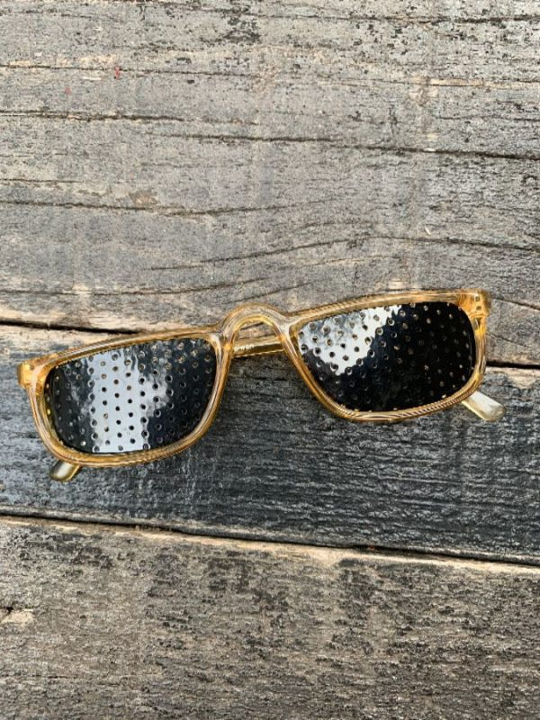 RETRO CLEAR RIMMED SUNGLASSES W/ PERFORATED SHADE LENSES