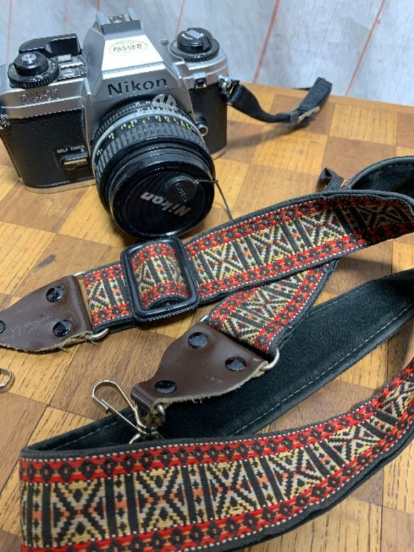 product details: RETRO 1970'S FILM CAMERA STRAP W/ LEATHER TRIM & CLASSIC NARROW CUT STYLE photo