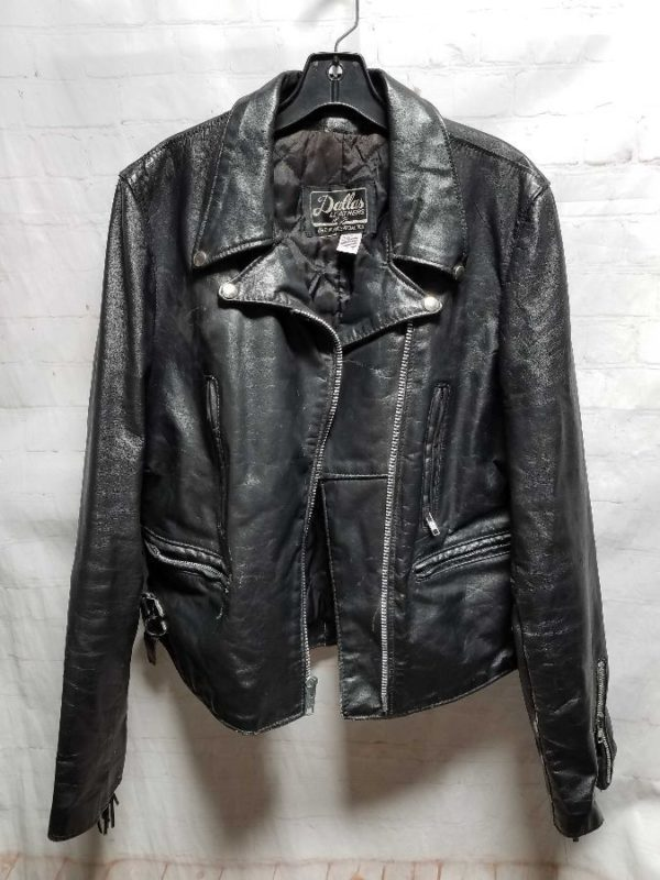 product details: VINTAGE LEATHER MOTORCYCLE JACKET W/ LONG FRINGE photo