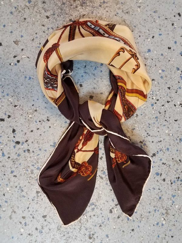 product details: SILK SCARF SQUARE SHAPED W/ ORNATE BELTS & SWORDS DESIGN PRINT photo