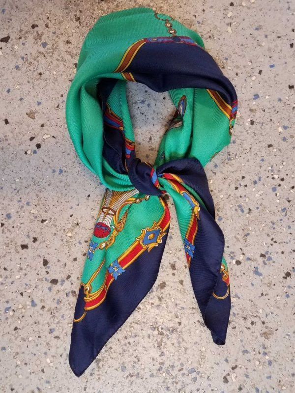 GORGEOUS SILK SCARF SQUARE SHAPED W/ BALLOON & HERMES STYLE AEROPLANE PRINT