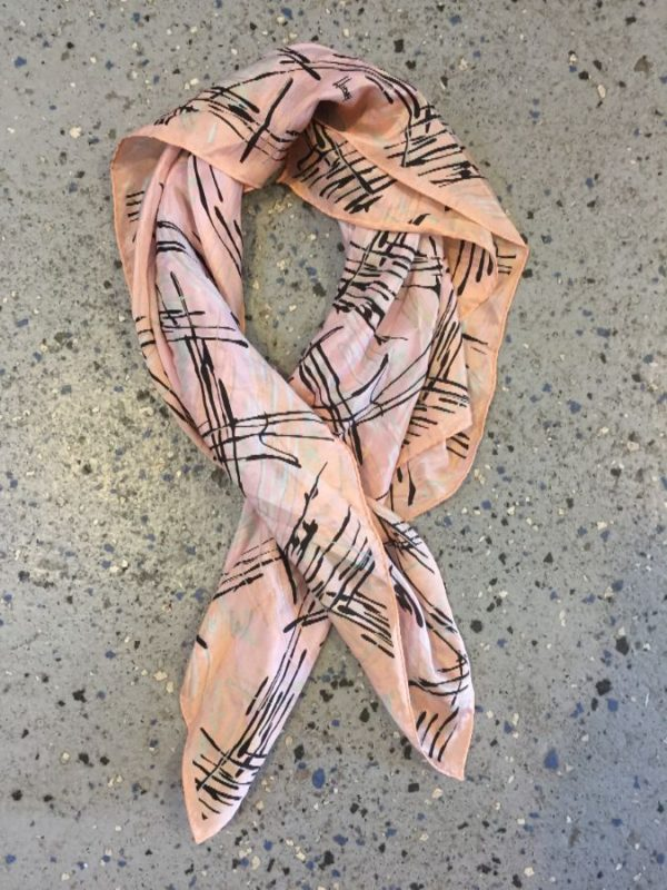 SILK PASTEL COLORED  SCARF W/ AMAZING 1980'S ABSTRACT PRINT