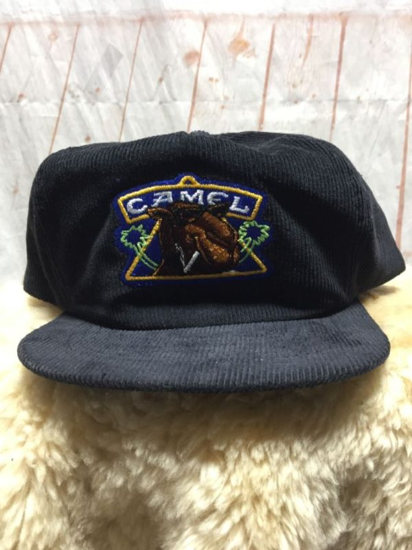 product details: CORDUROY CAMEL CIGARETTES HAT W/ EMBROIDERED FRONT LOGO photo