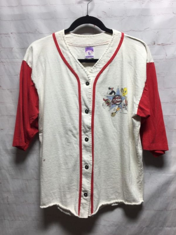 product details: VINTAGE LOONEY TUNES ALL STARS BASEBALL TEAM SPORTS JERSEY SHIRT photo