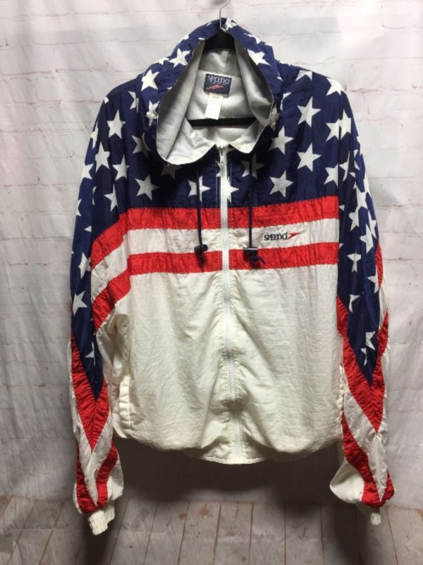 product details: NYLON AMERICAN FLAG PRINT WINDBREAKER JACKET W/ HOOD photo