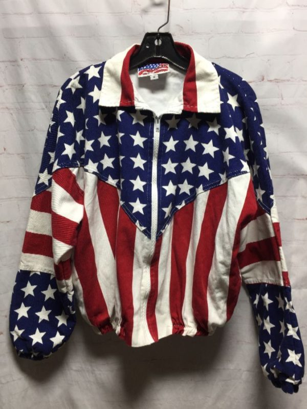 CLASSIC 1980'S COTTON AMERICAN FLAG DESIGN JACKET
