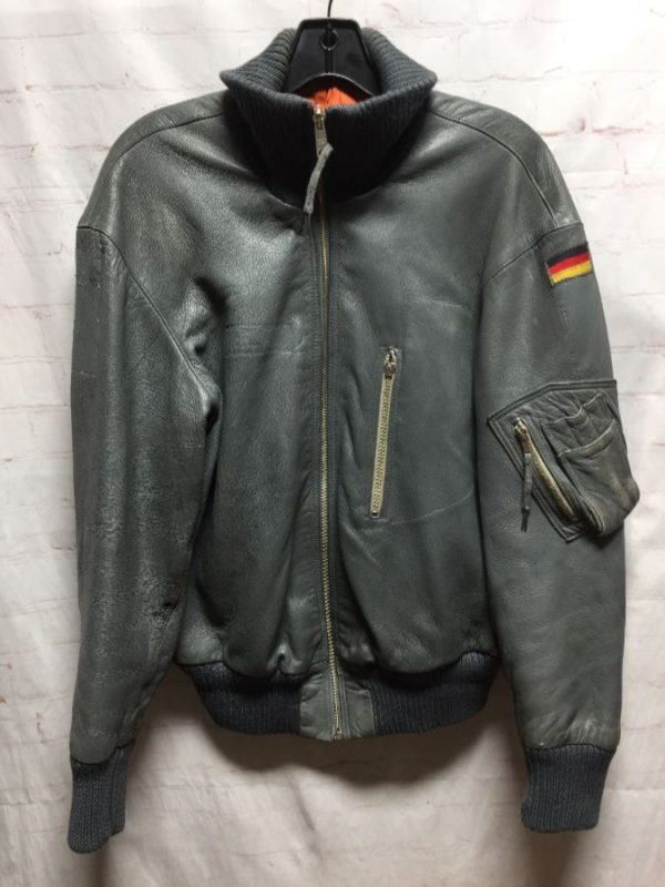 product details: RAD BUTTERY SOFT LEATHER PILOT BOMBER JACKET W/ GERMAN FLAG PATCH photo