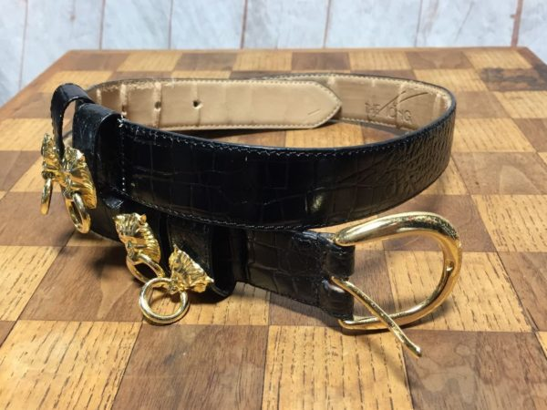 GENUINE LEATHER BELT W/ GOLD METAL LION MEDALLIONS