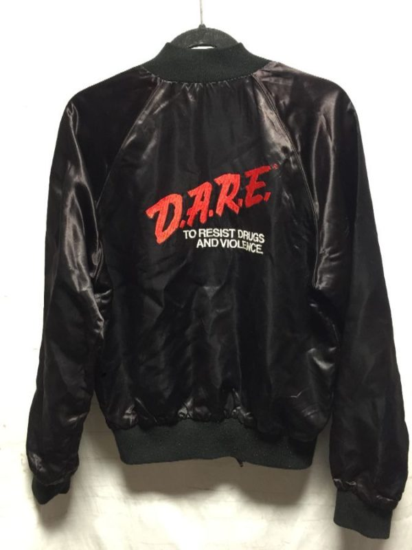 product details: EMBROIDERED DARE ACETATE BOMBER JACKET RED INTERIOR LINING - AS IS D.A.R.E. photo