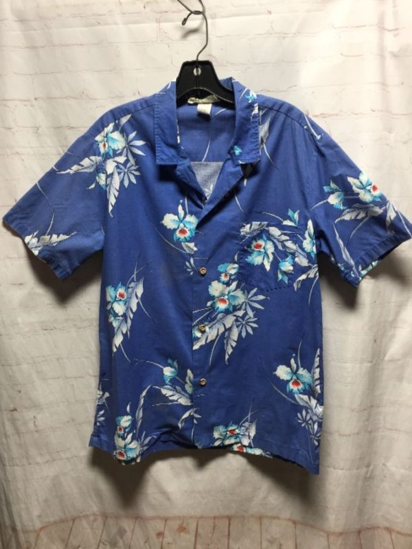 product details: TROPICAL FLORAL PRINT COTTON HAWAIIAN SHIRT photo