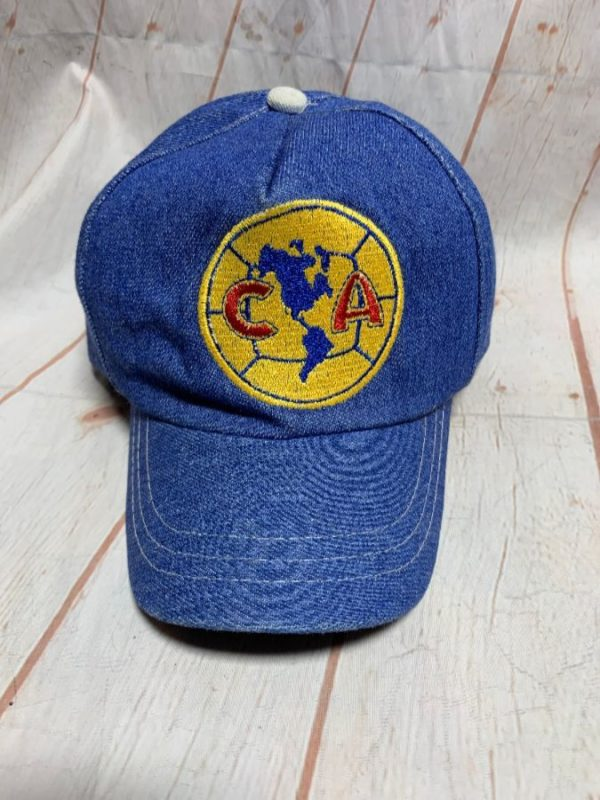 NIKE DENIM DAD HAT – EMBROIDERED SOCCER BALL PATCH W/ CA & CONTINENTS