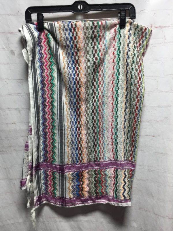product details: SCARF W/ EMBROIDERED ZIG-ZAG DESIGNS ALL OVER & TASSELS ON CORNERS photo