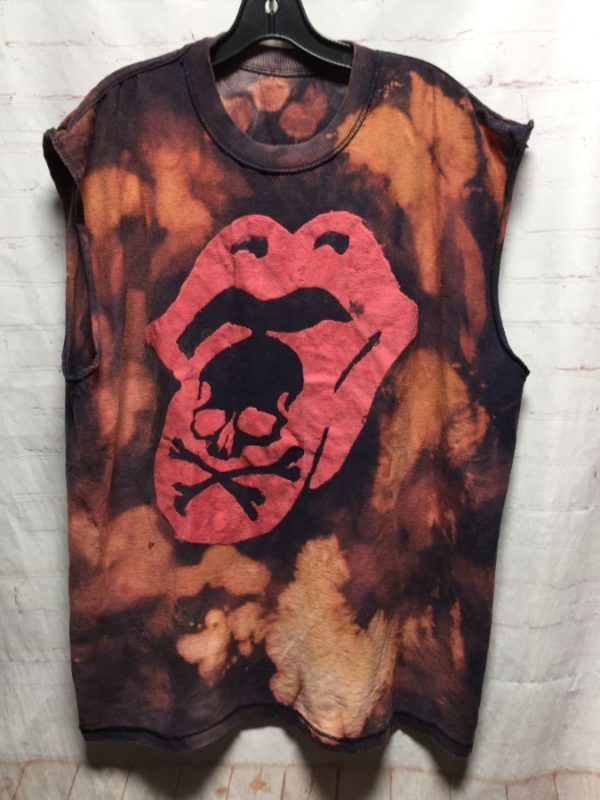 product details: ROLLING STONES TIE-DYED INSIDE OUT CUT-OUT SLEEVES T-SHIRT photo